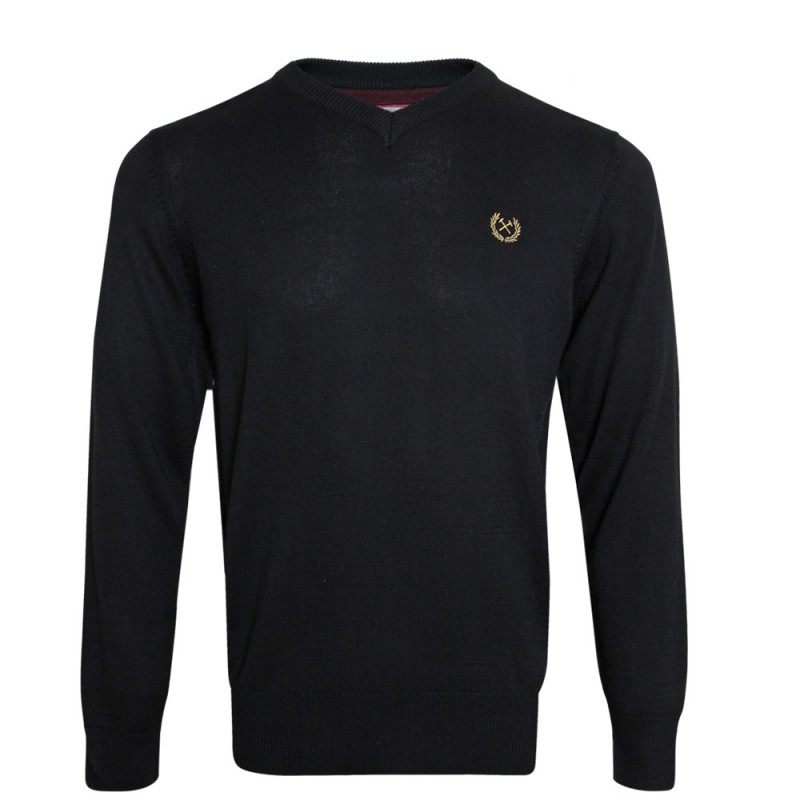 BLACK MARL V-NECK JUMPER