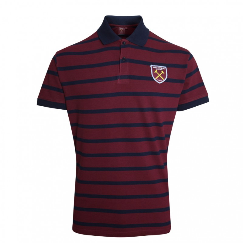 CLARET/NAVY STRIPE POLO