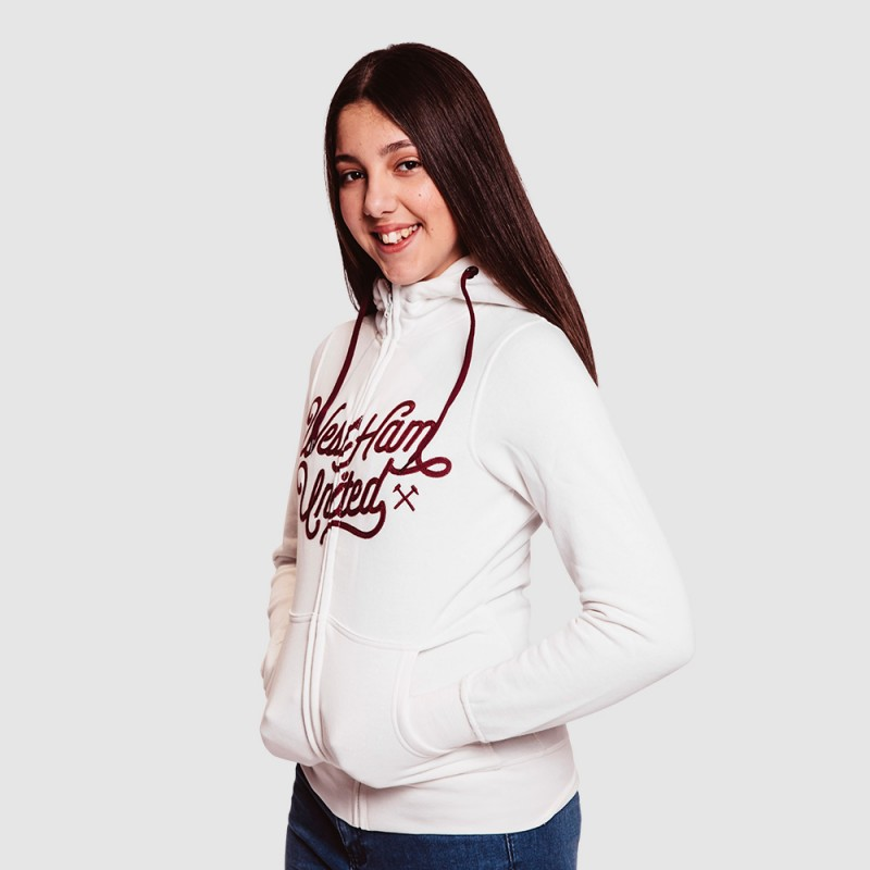 LADIES WHITE EMBROIDERED HOODIE