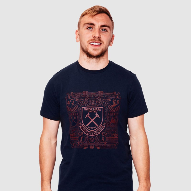 WEST HAM 125 - NAVY HISTORY PRINT T-SHIRT