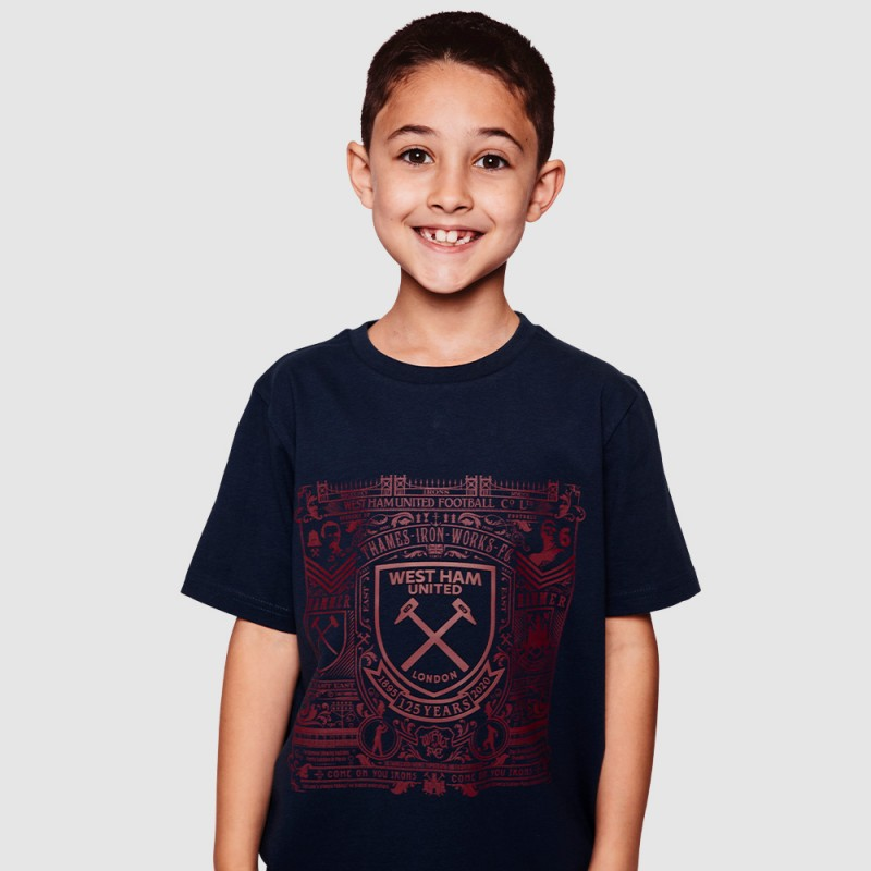 WEST HAM 125 - JUNIOR NAVY HISTORY PRINT T-SHIRT