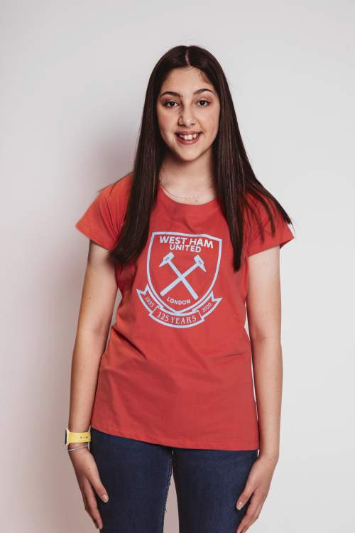 WEST HAM 125 - GIRLS CORAL T-SHIRT