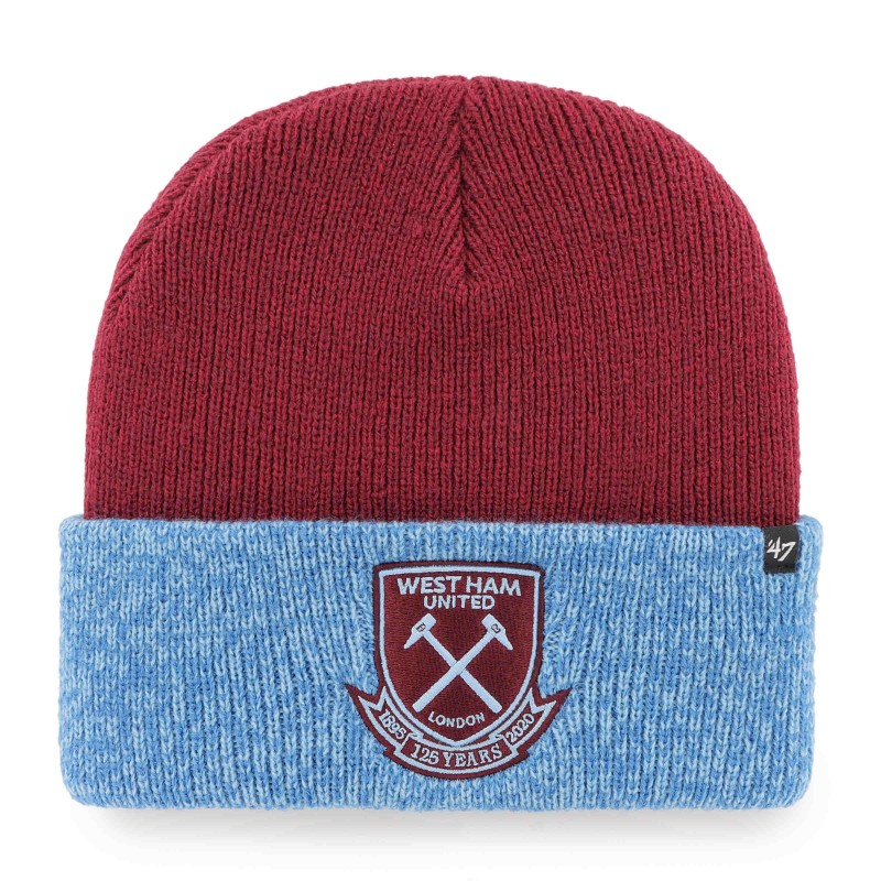 WEST HAM 125-CLARET/SKY CUFF KNIT HAT