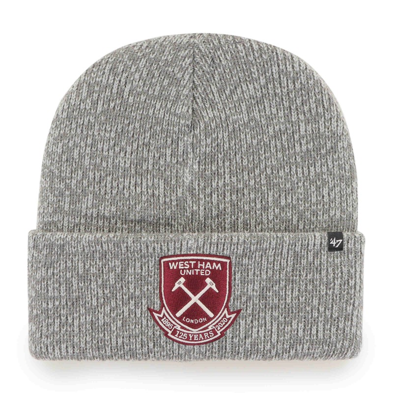 WEST HAM 125-MARL GREY CUFF KNIT HAT