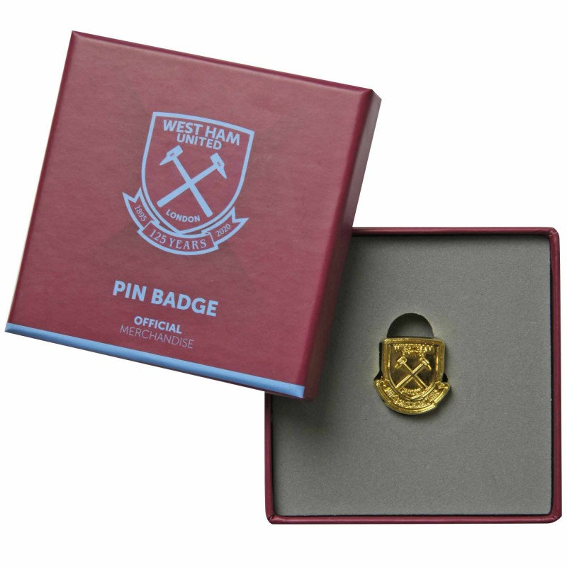 WEST HAM 125-BOXED GOLD PIN BADGE