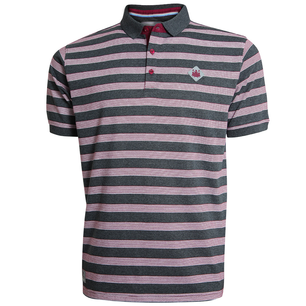 CHARCOAL/CLARET STRIPED POLO